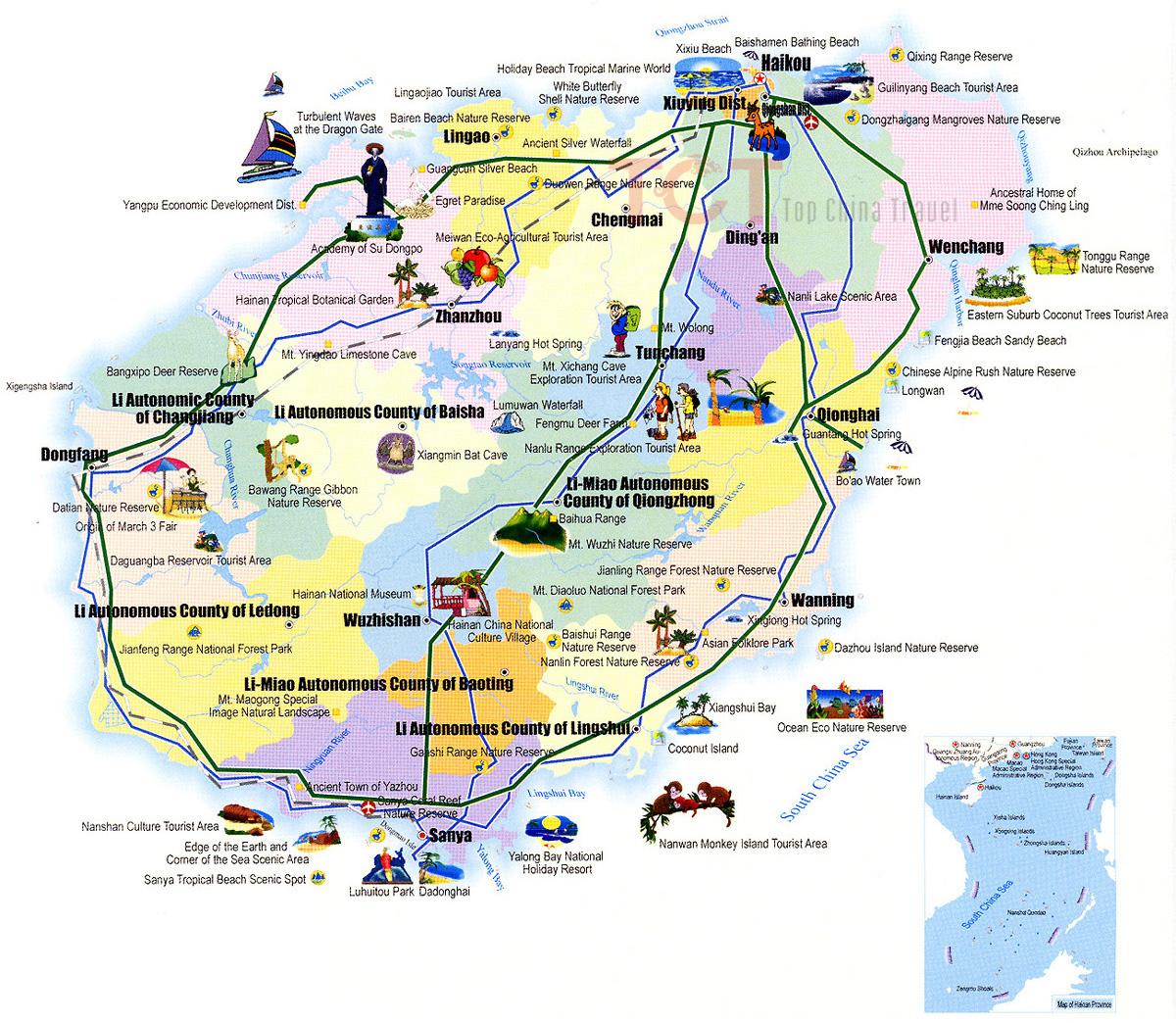 Карта острова хайнань с